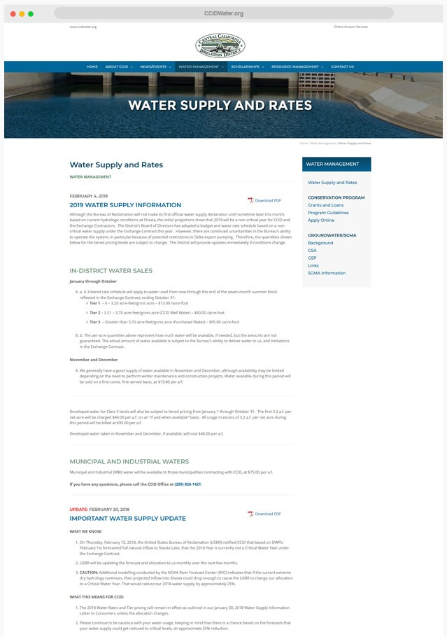 Web Designer for Water District