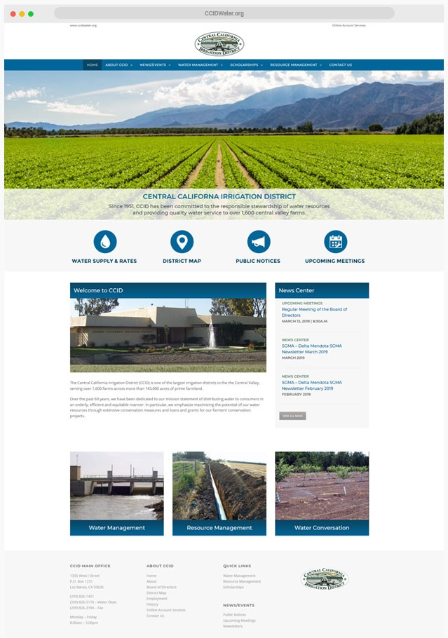 Web Design Company for Water District